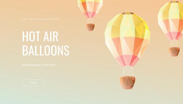 Воздушный шар полигональный. концепция мухи, путешествия или приключения Premium векторы
