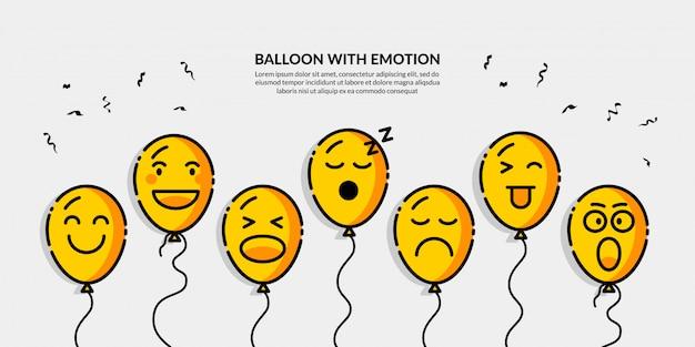 Balloon with different emotion banner Premium Vector