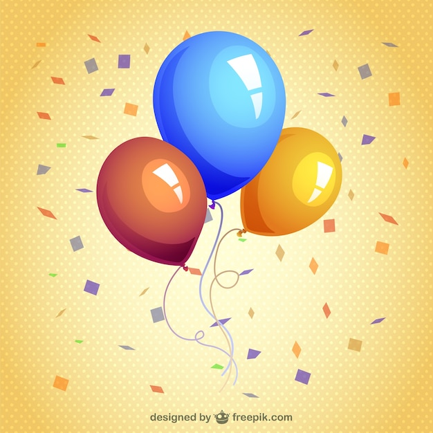 Balloons and streamers Free Vector