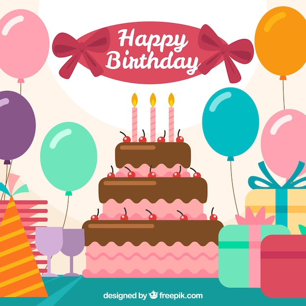 Balloons background with birthday cake Free Vector