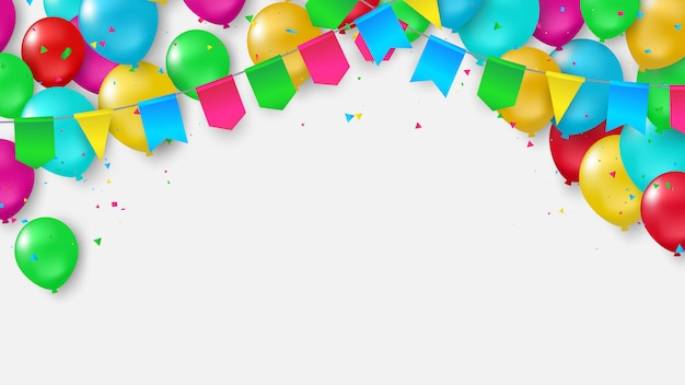 Balloons flag confetti colorful ribbons frame. Premium Vector
