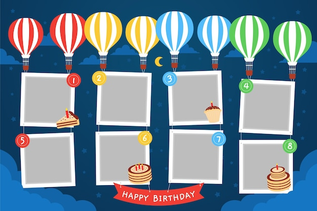 Balloons flat design birthday collage frame Free Vector