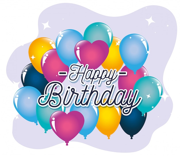 Balloons, happy birthday greeting card Free Vector
