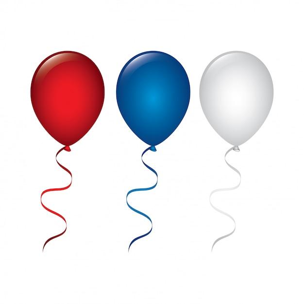 Воздушные шары в цветах сша Бесплатные векторы