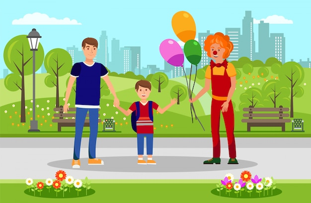 Balloons for kid from clown in park illustration Premium Vector