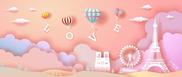 Balloons of love and heart with eiffel tower in france. Premium Vector