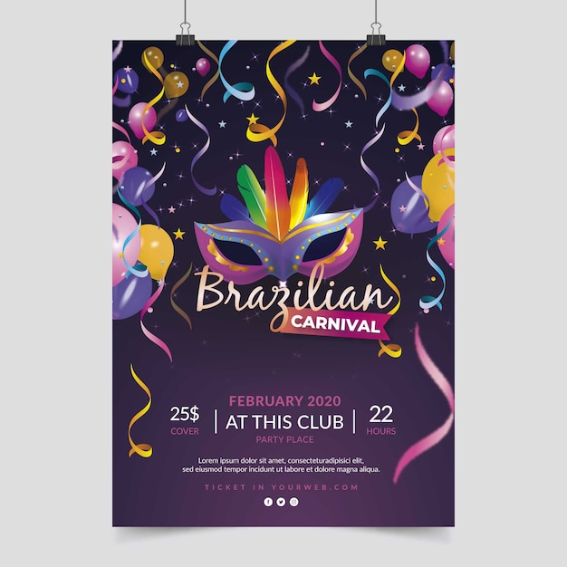 Balloons and mask brazilian carnival party poster Free Vector