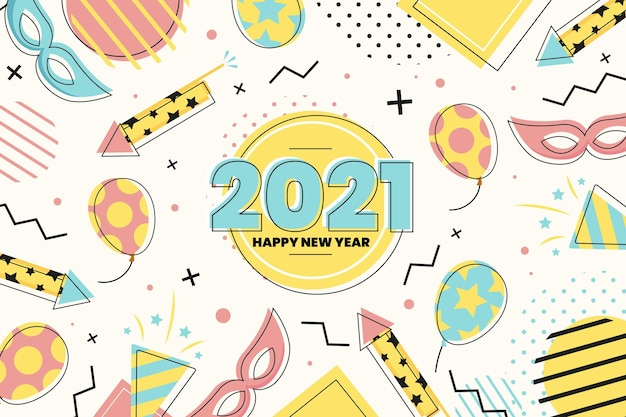 Balloons and party accessories flat design happy new year 2021 Free Vector