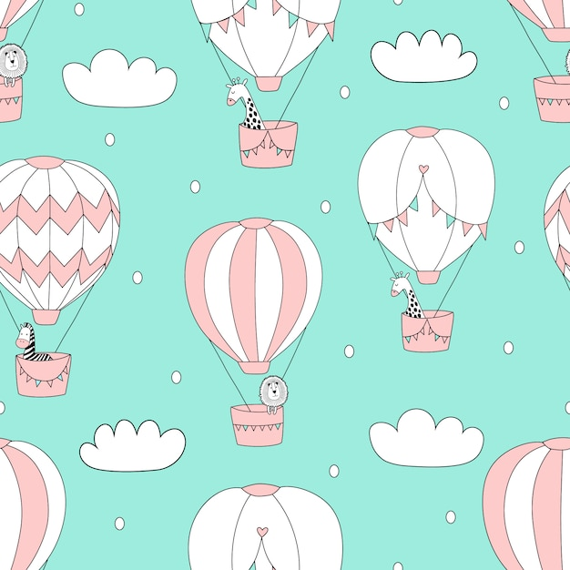 Balloons in the sky pattern Premium Vector