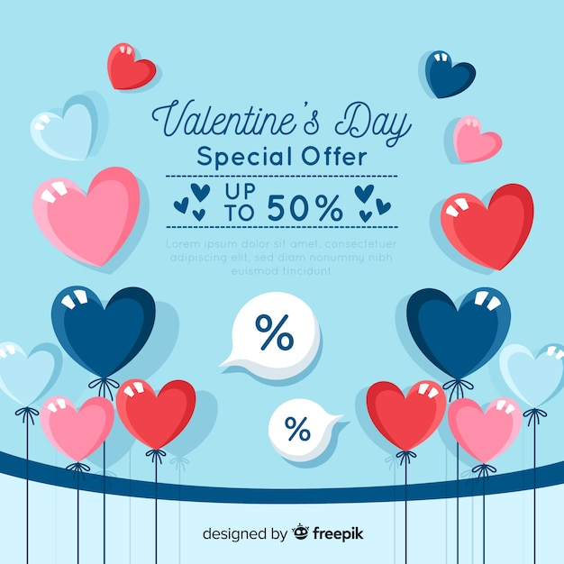 Balloons valentine's day sales backgrond Free Vector