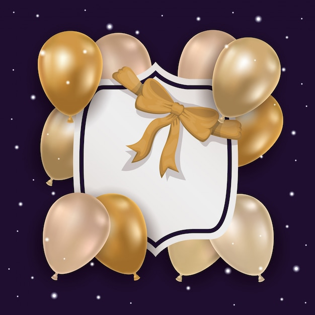 Balloons with bowtie and label Free Vector