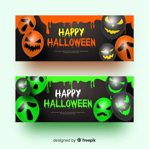 Balloons with faces realistic halloween banners Free Vector