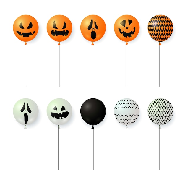 Balloons with scary faces Free Vector