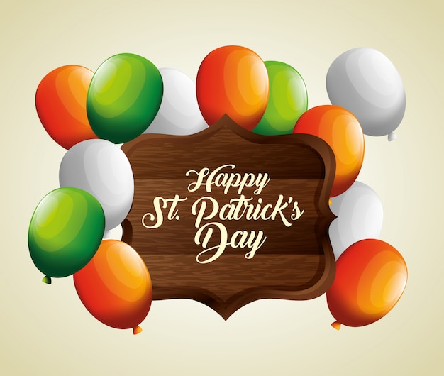 Balloons with wood emblem for st patrick's day Free Vector
