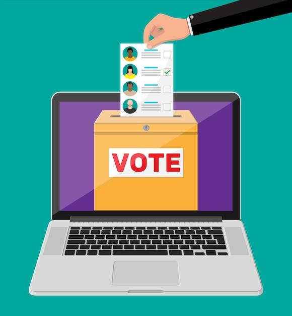Урна для голосования, документ с кандидатами на экране ноутбука. рука с законопроектом о выборах. бумага для голосования с лицами. Premium векторы