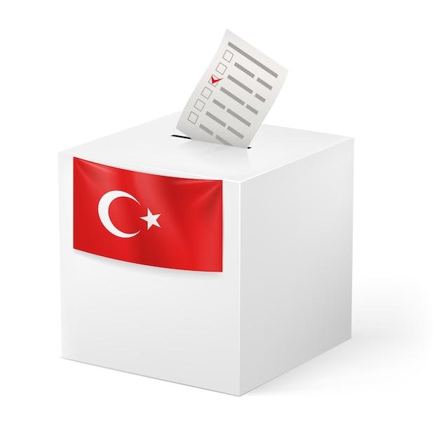 Ballot box with voicing paper. turkey Premium Vector