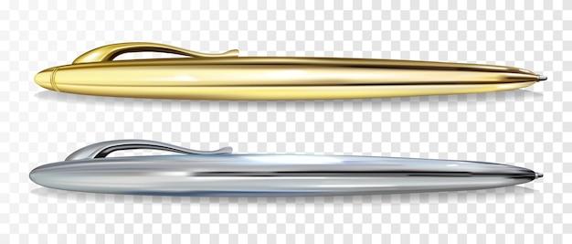 Шариковая ручка golen и серебряная векторная иллюстрация Бесплатные векторы