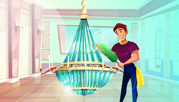 Ballroom cleaning illustration of man dusting big crystal chandelier with feather duster. Free Vector