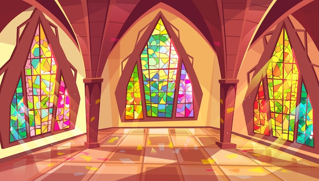 Ballroom illustration of royal gothic palace hall with stained glass windows Free Vector
