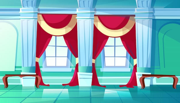 Ballroom of palace hall illustration of medieval castle interior of royal dancing room. Free Vector