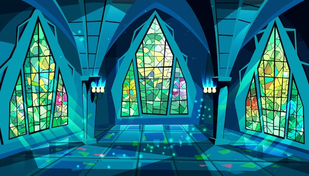 Ballroom or palace illustration of royal gothic hall at night with stained glass windows Free Vector