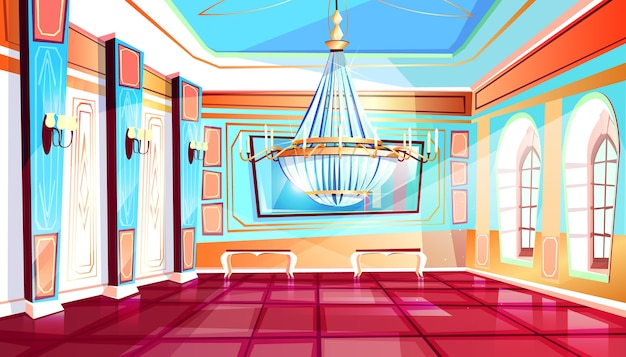 Ballroom with big chandelier illustration of palace hall with columns and tile floor. Free Vector