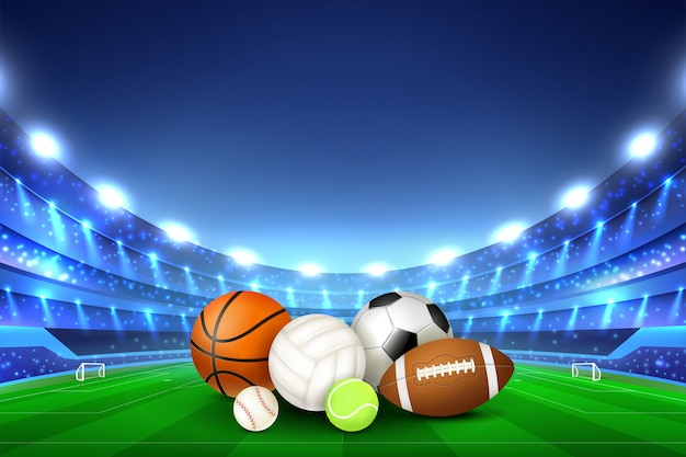 Balls for different sport games in center of stadium Free Vector