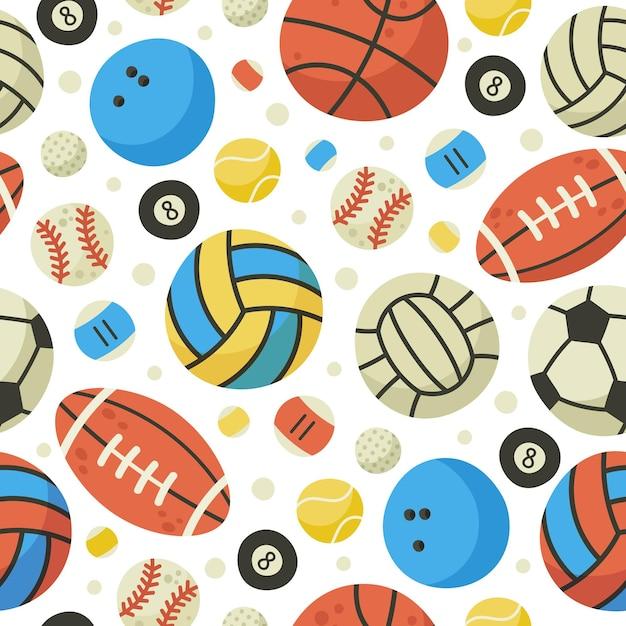 공 완벽 한 패턴입니다. 농구, 축구, 축구, 테니스 공 배경. 스포츠 게임 공 장비 만화 벡터 패턴 일러스트 프리미엄 벡터