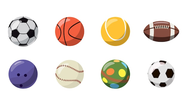 Balls set. cartoon set of balls Premium Vector