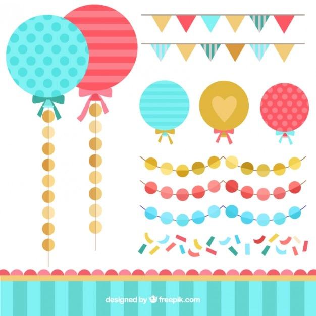 Плоский гирлянда и коллекция baloon Бесплатные векторы