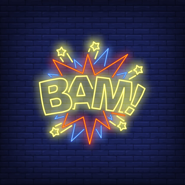 Bam lettering neon sign Free Vector