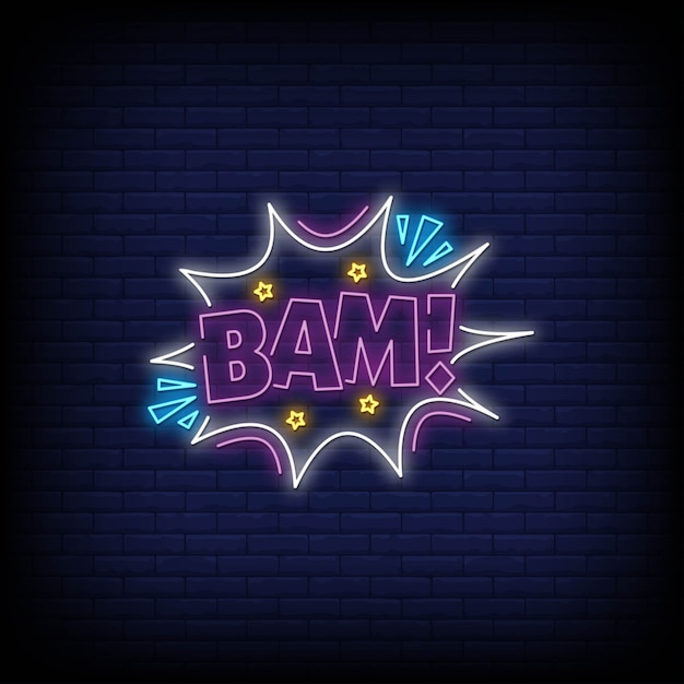 Bam neon sign in neon style Premium Vector