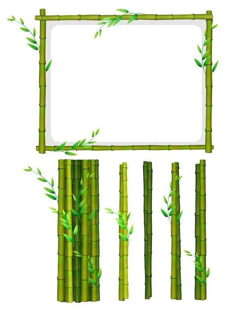 Bamboo frame and bamboo sticks Free Vector