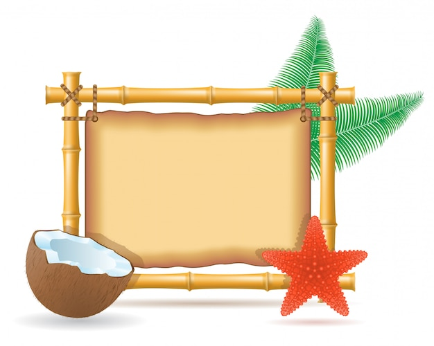 Bamboo frame and coconut Premium Vector