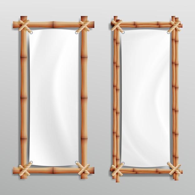 Bamboo frame realistic Premium Vector