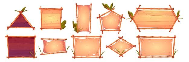 Cornici di bambù con vecchia pergamena, sfondo di assi di legno e foglie di palma. Vettore gratuito