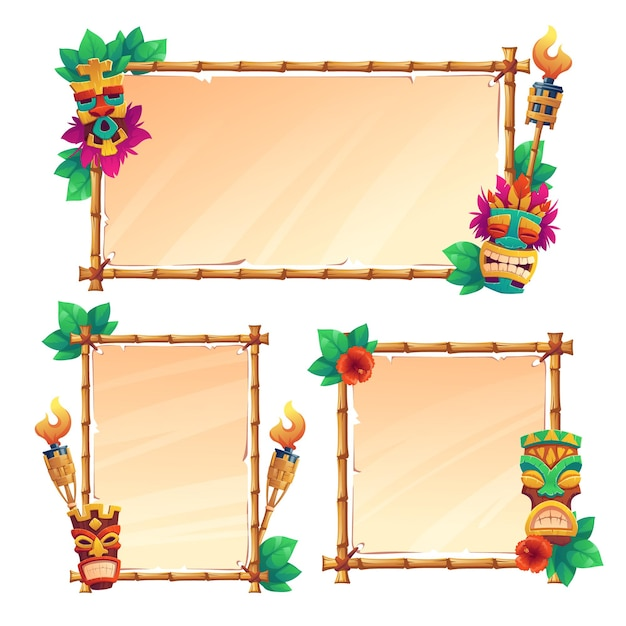 Bamboo frames with tiki masks, old parchment and burning torches Free Vector