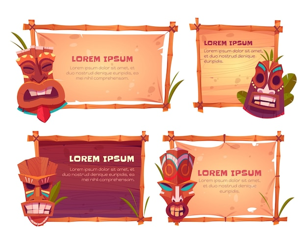 Bamboo frames with tiki masks Free Vector