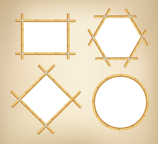 Bamboo frames. wood stick banners of various shapes. japanese rustic bamboo sign frame. Premium Vector