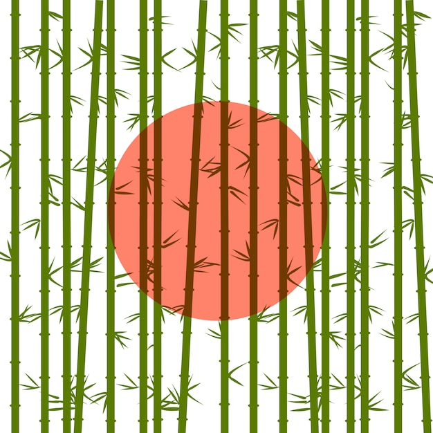 Bamboo of the red sun Premium Vector