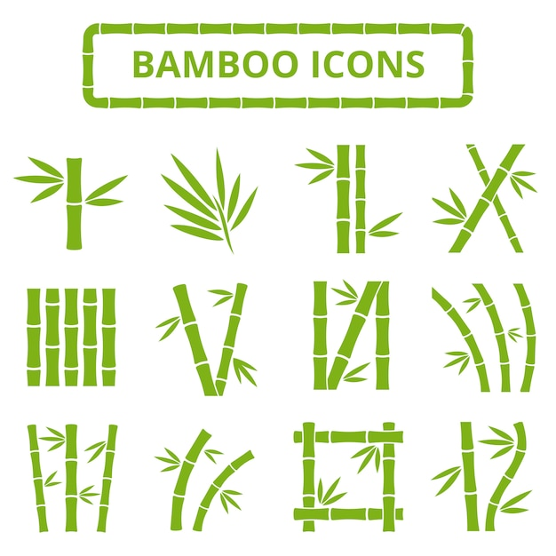 Bamboo stalks and leaves vector icons. Premium Vector