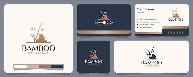 Bamboo stone ,spa ,balance , business card and logo design Premium Vector
