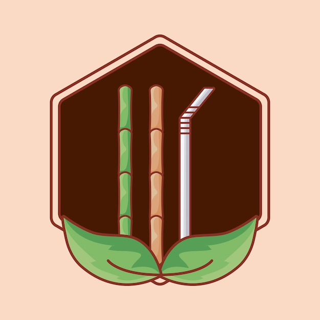 Bamboo and straw in frame with leafs Premium Vector