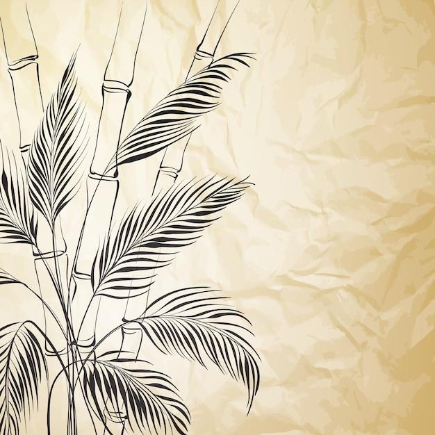 古い紙の背景に竹の木 無料ベクター