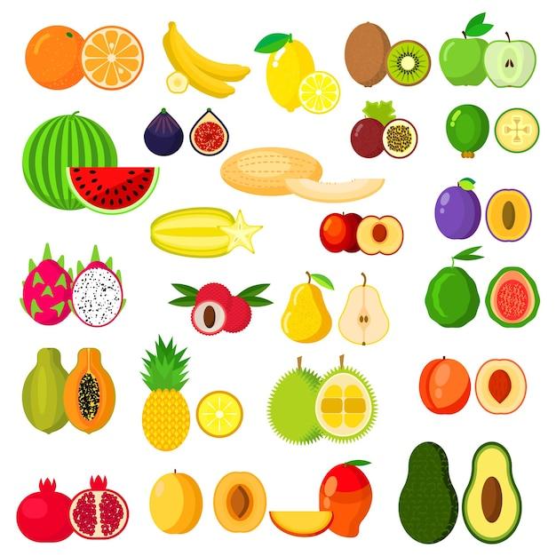 Банан и киви, апельсин и яблоко, груша и ананас, арбуз, слива и абрикос, дыня, авокадо и персик, драконий фрукт и манго, папайя и гранат, инжир и фейхоа, карамбола и дуриан Premium векторы