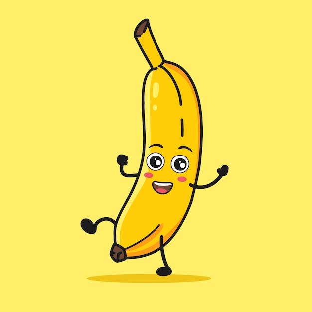 Banana cartoon dancing Premium Vector