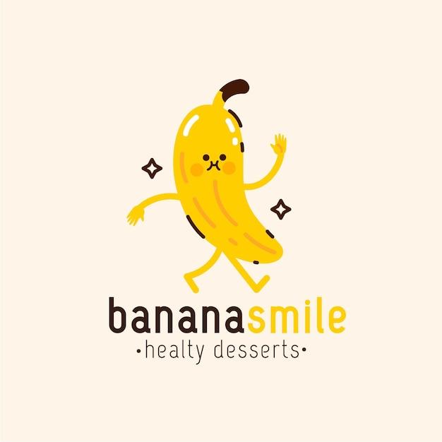バナナキャラクターロゴテンプレート 無料ベクター