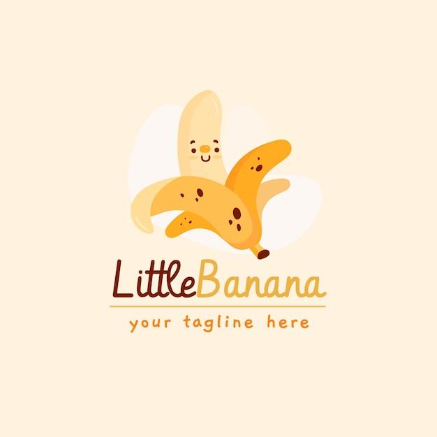 タグラインとバナナのキャラクターのロゴ 無料ベクター
