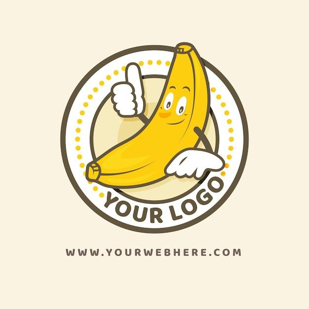 バナナキャラクターロゴ 無料ベクター