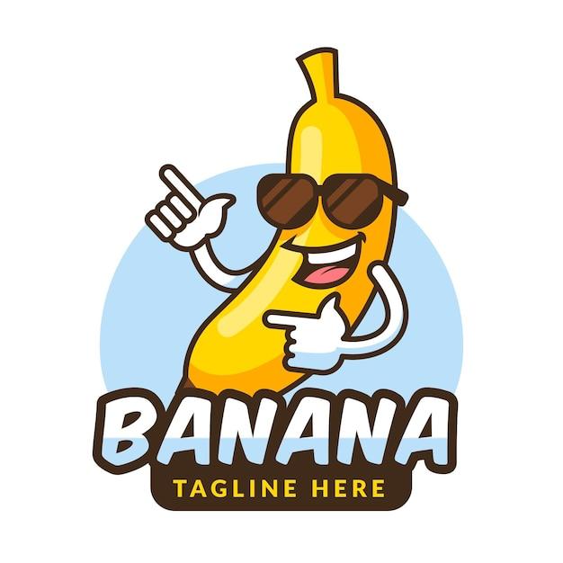 バナナキャラクターロゴ Premiumベクター
